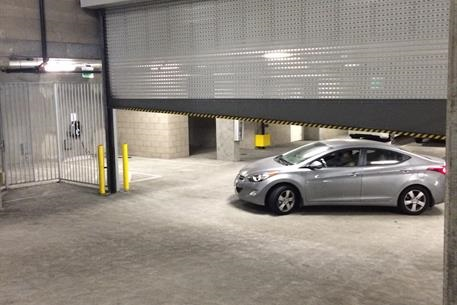 high speed roll up door 1024 with sloped BB in Parking Garage