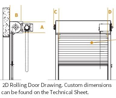 roll up service doors overhead coiling door jamb detail rolling door gate red zone clearances