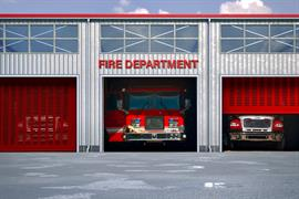 Modern Red FireHouse 1024 Door Fenestrated Slats