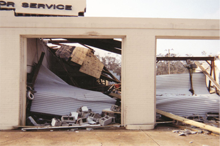 Hurricane Proof Doors after Ivan with damage
